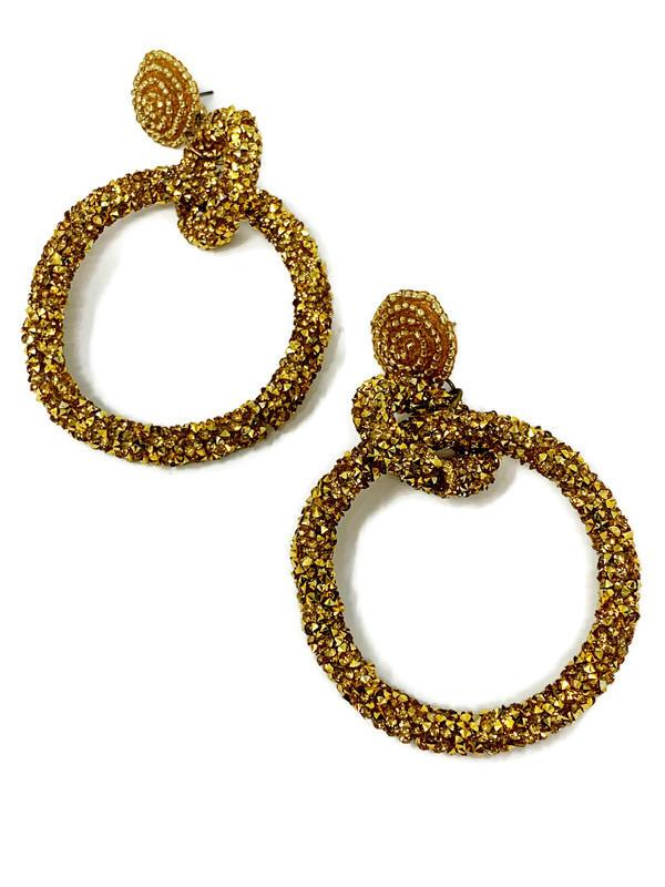 Gold Glitter Hoop Earrings - StyleAlum