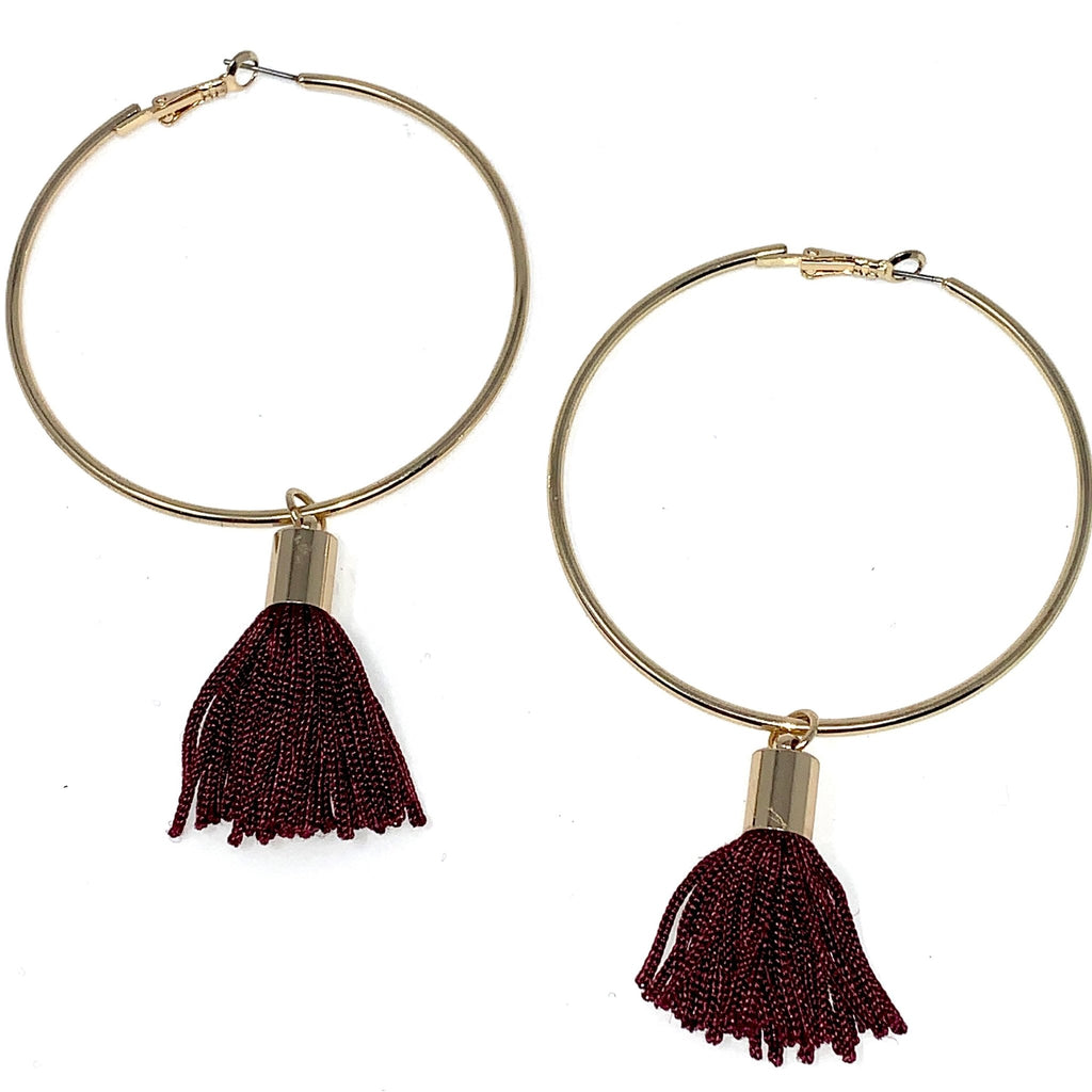 Large Hoops Mini Tassels Earrings - StyleAlum