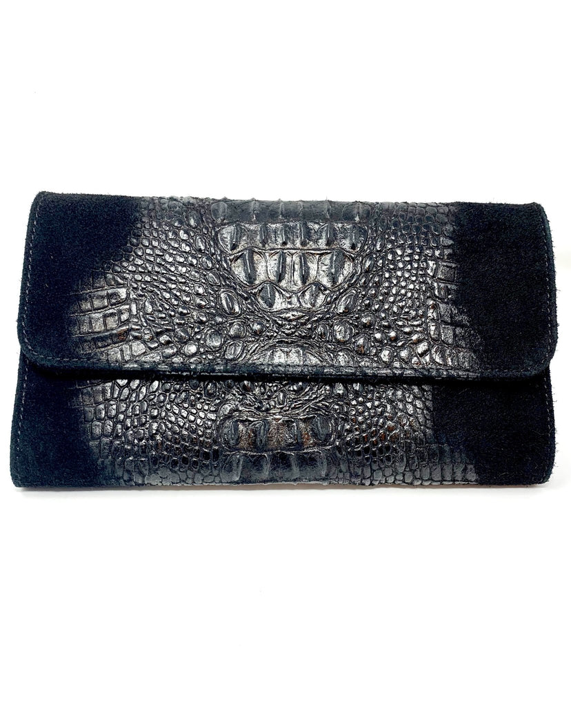 Leather Faux Alligator Clutch - StyleAlum