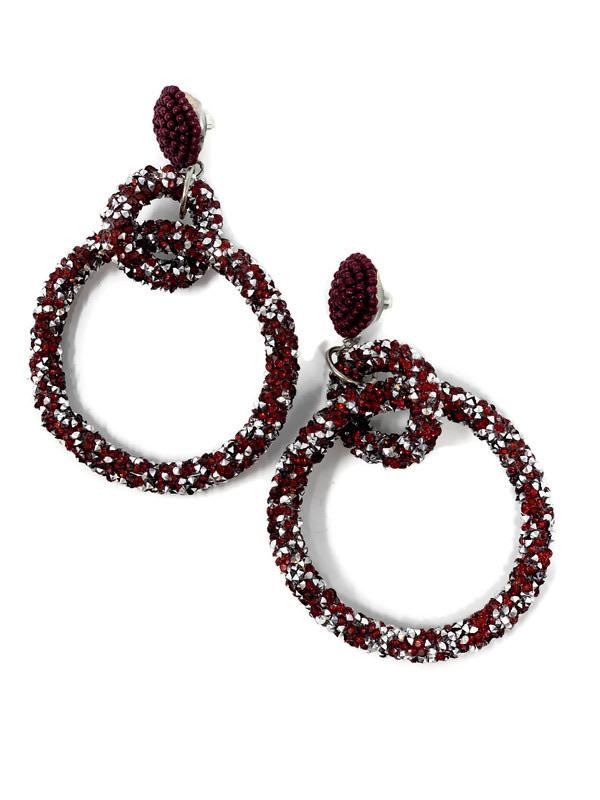 Maroon and Silver Glitter Hoop Earrings - StyleAlum