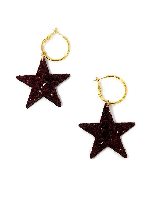 Maroon Star Earrings - StyleAlum