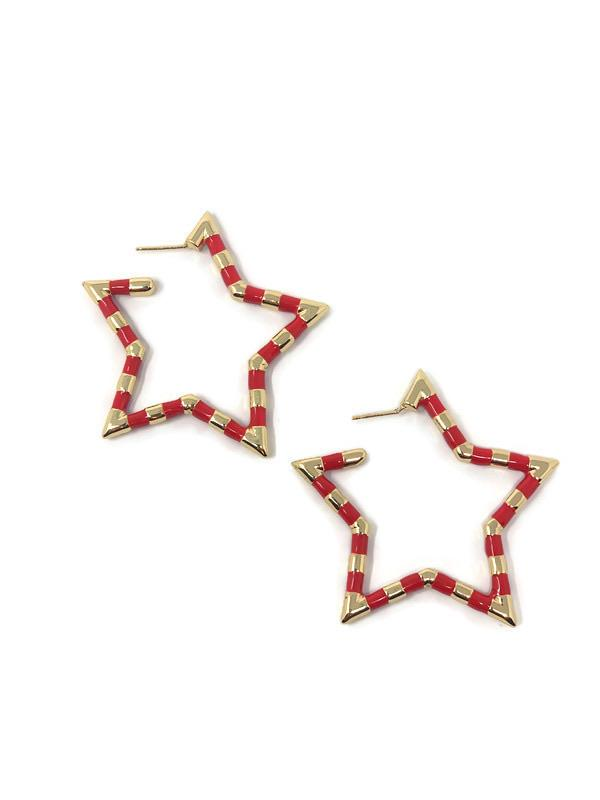 Red and Gold Star Earrings - StyleAlum
