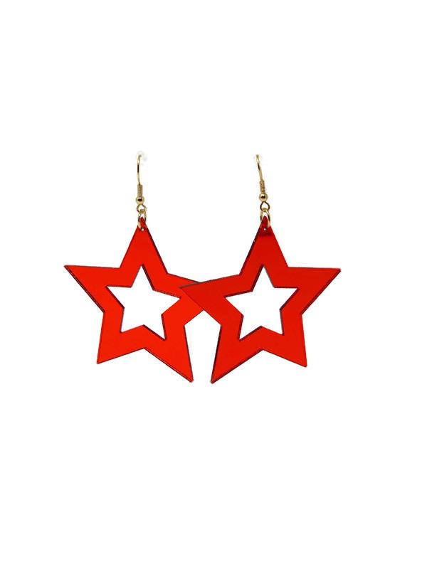 Red Mirror Star Earrings - StyleAlum