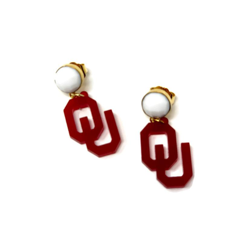 Small Oklahoma Sooners Logo Gem Earrings - StyleAlum