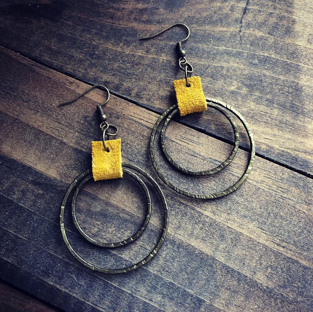 Raining Grace Hammered Metal Hoops- Mustard