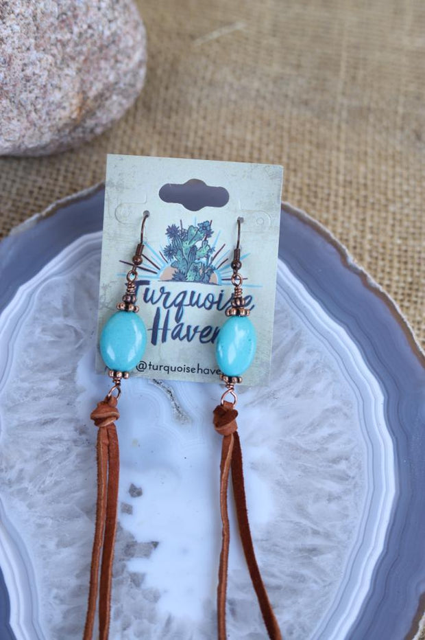 Turquoise Nugget with Brown Leather Tassel Earrings