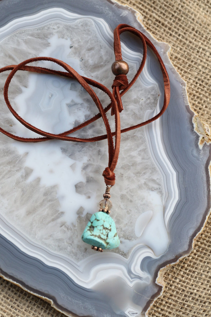 Leather & Turquoise Nugget Necklace