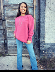 Pink Call It A Day Over Sized Sweatshirt Top