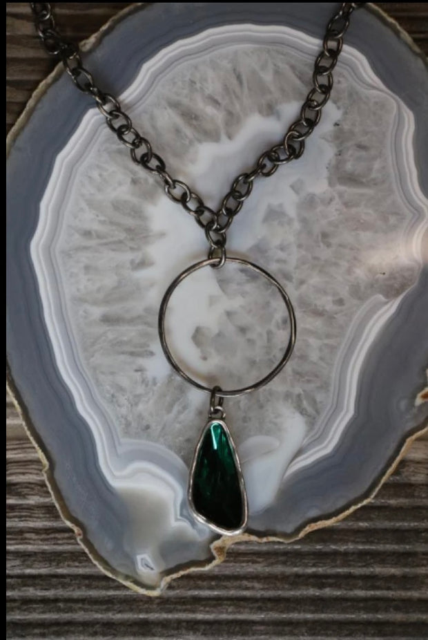 Gun Metal Green Pendant Necklace