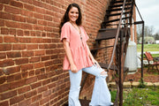 It's Spring Coral Babydoll Top