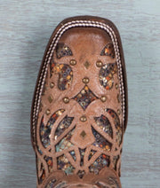 Multicolor Bone Inlay Boot with Studs