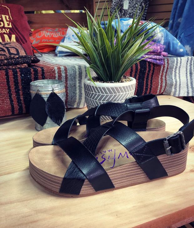 Blowfish Malibu Vegan Black Leather Sandals-MagnoliaMill