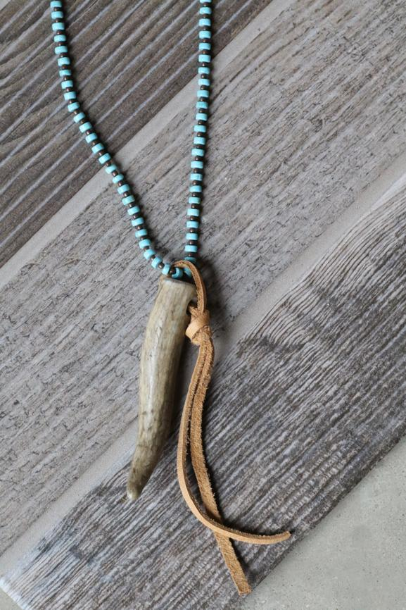 Deer Antler on Turquoise Necklace
