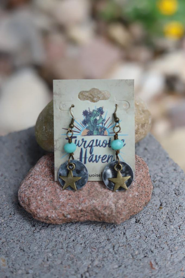 Stacked Star Charm and Mint Crystal Earrings