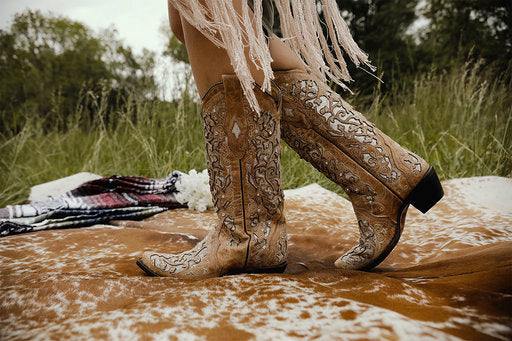 Beige Inlay Embroidered Flower Boots with Hammered Studs & Crystals