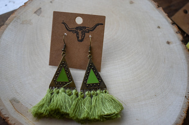 Lime Pop Tassel Earrings