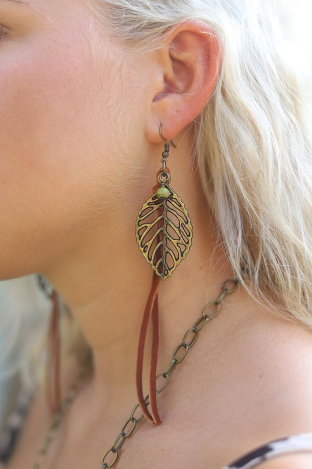 Leaf with Green Dangle and Brown Leather Tassels