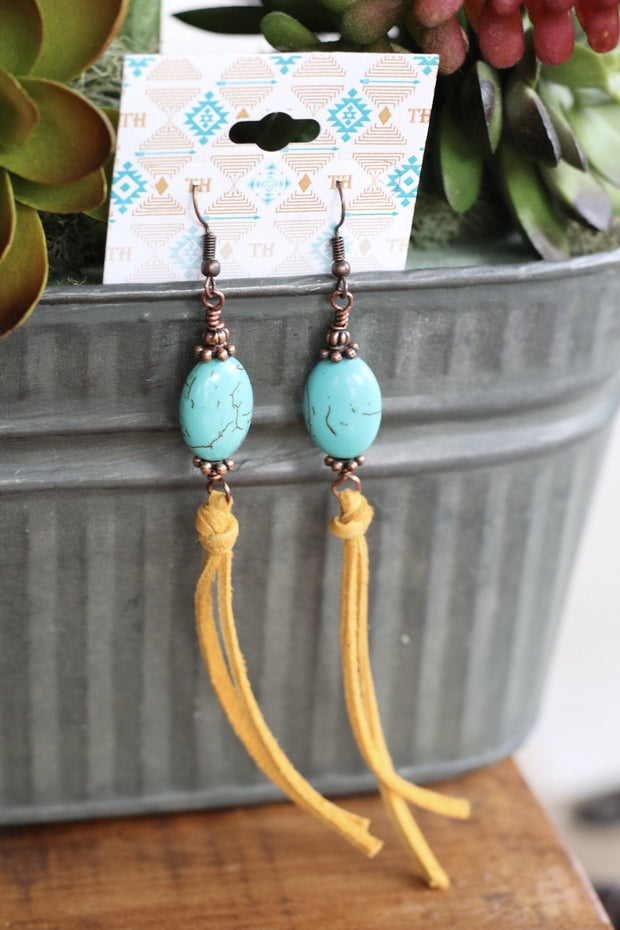 Turquoise Nugget & Mustard Leather Earrings