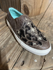 Brown With Black Inlay and Embroidery Sneaker