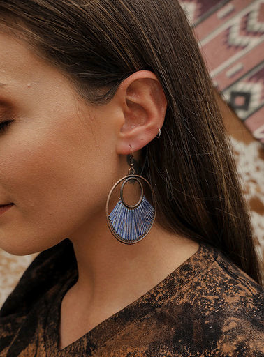 Peacock blue fan woven hoop earrings