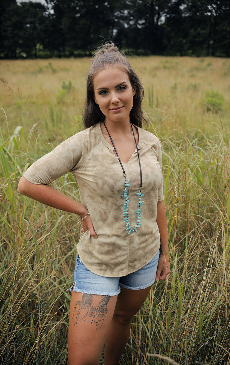 Allie's Mineral Wash V-Neck Top