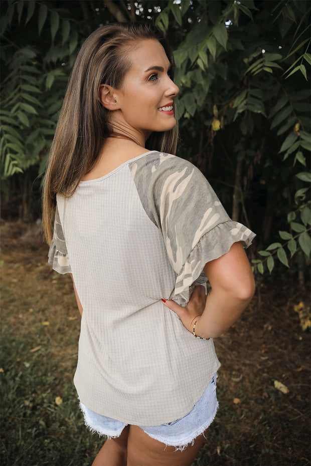 Ruffled Up Camo Top