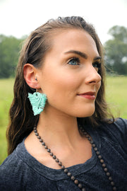 Viola Blue Green Macrame Earrings