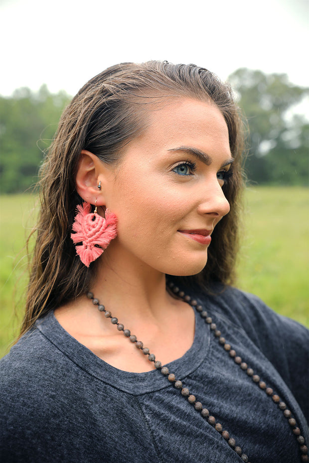 Viola Coral Macrame Earrings