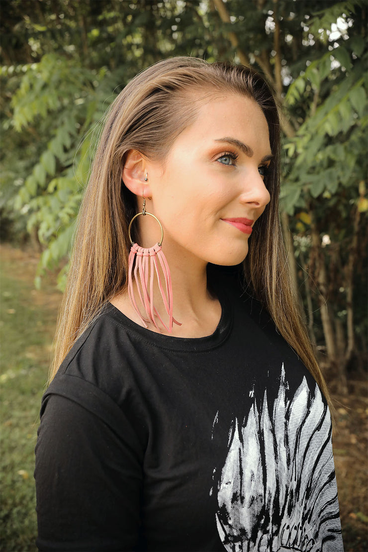 Pink Leather Hooped Earrings