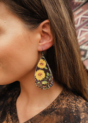 Sunny Day Sparkle Leather Earrings