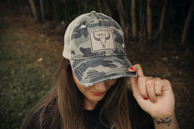Camo Steer Head Biz Hat