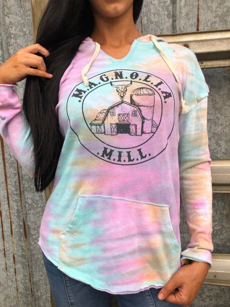 Magnolia Mill Logo Watercolor Terry Cloth Hoodie