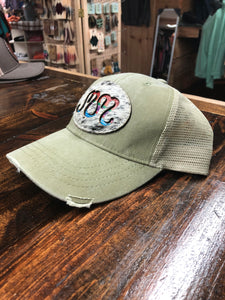 "Serape Cowhide MM ""Magnolia Mill"" Distressed Trucker Hat"