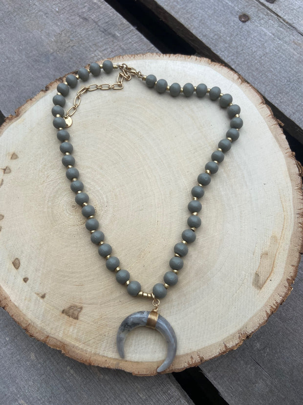 Gray Small Half Horn Necklace
