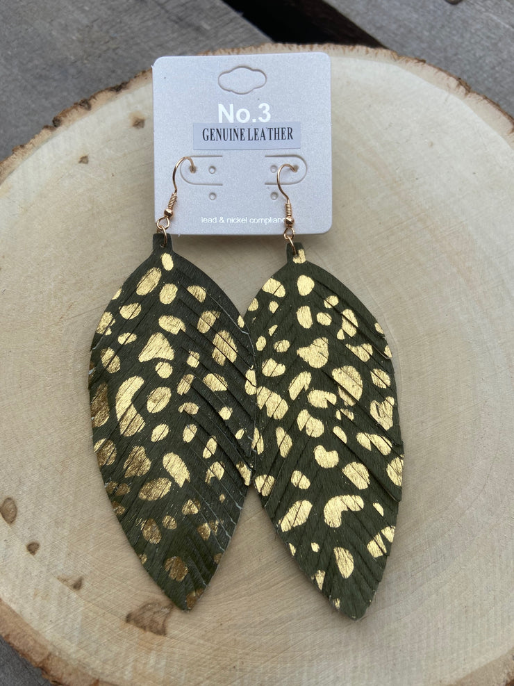 Olive/Gold Speck Earrings