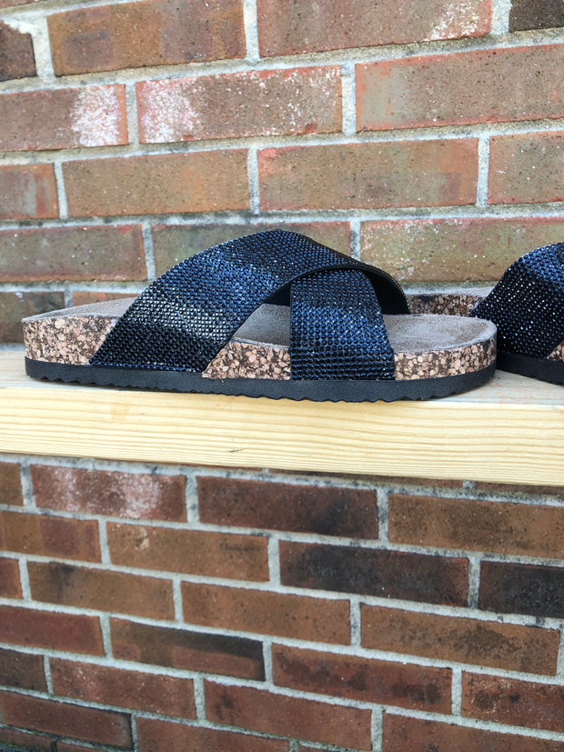 Shimmer Me Sandals- Sparkly Black-MagnoliaMill