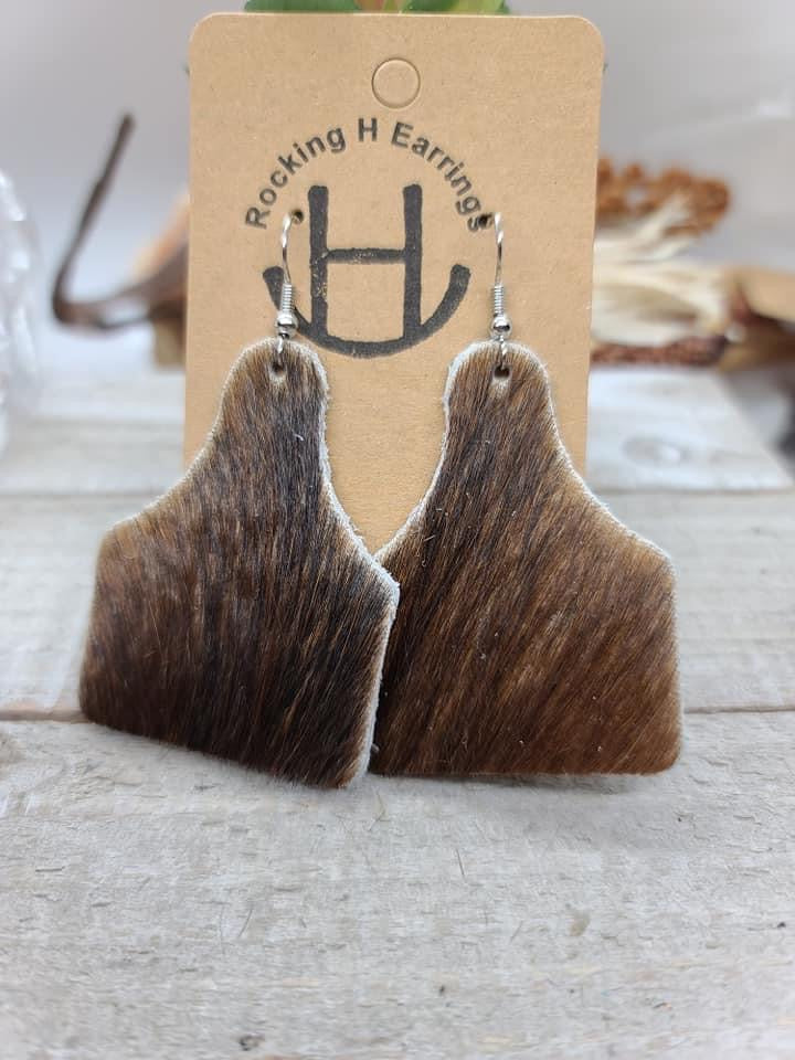 Rocking H' Leather Brindle Brown  Cowtags