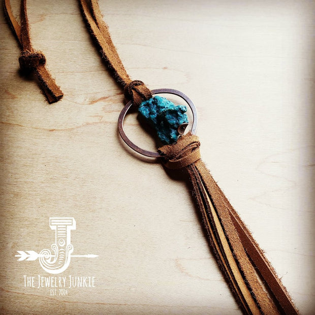 Suede Necklace w/ Genuine Turquoise Stone & Leather Tassel