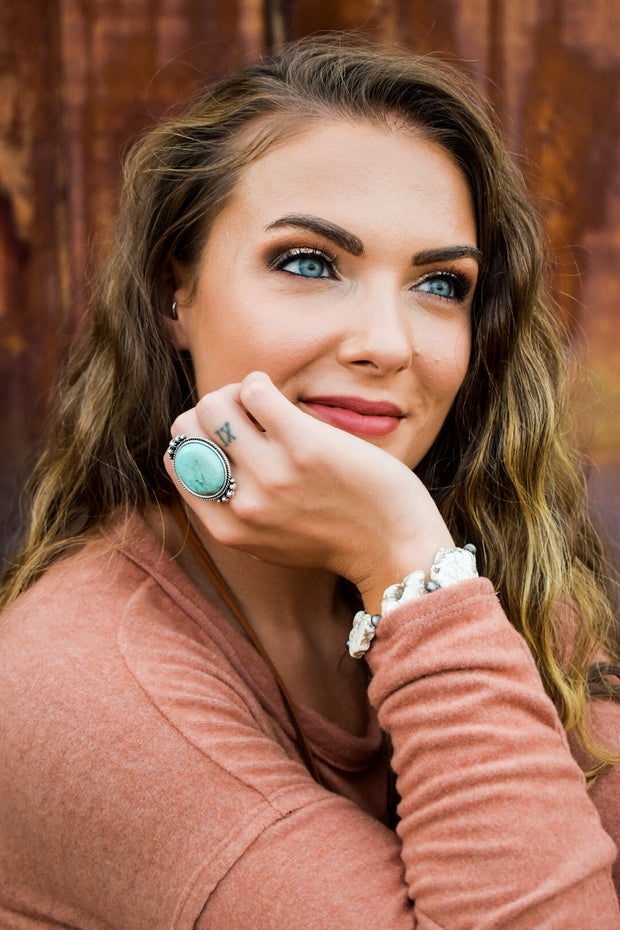 Delliah's Oval Turquoise Rock Statement Ring
