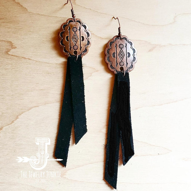 Leather Rectangle Earrings w/ Black Suede