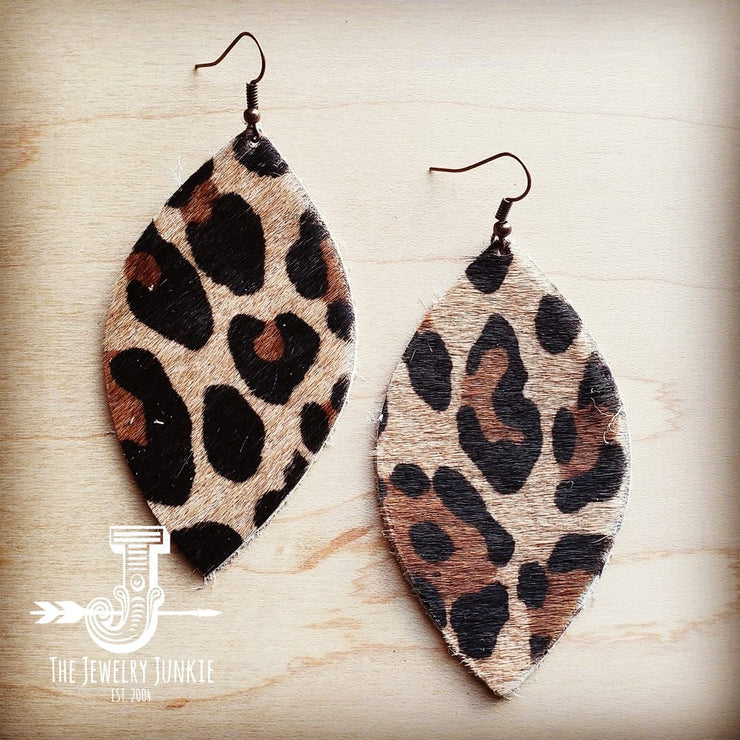 Leather Oval Earrings in Leopard Print Hair on Hide