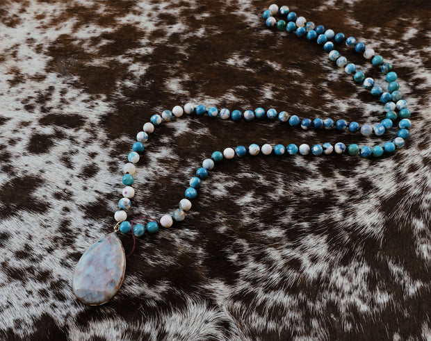 The Donna Blue Beaded Necklace