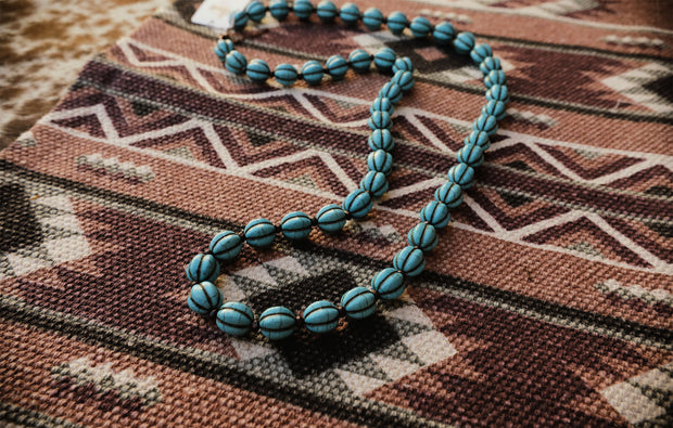 The Tia Teal Beaded Necklace