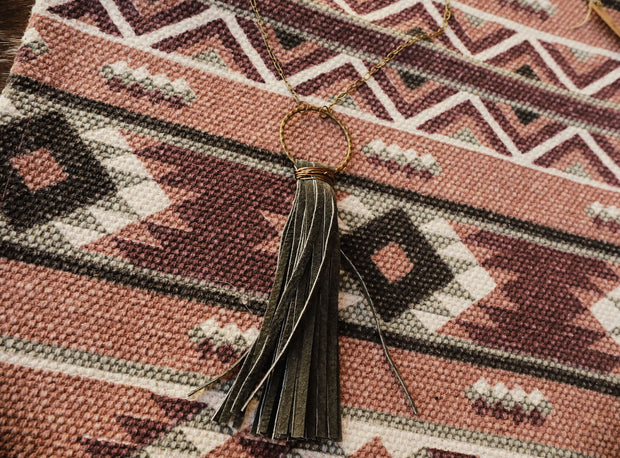 The Olive Green Tassel Necklace