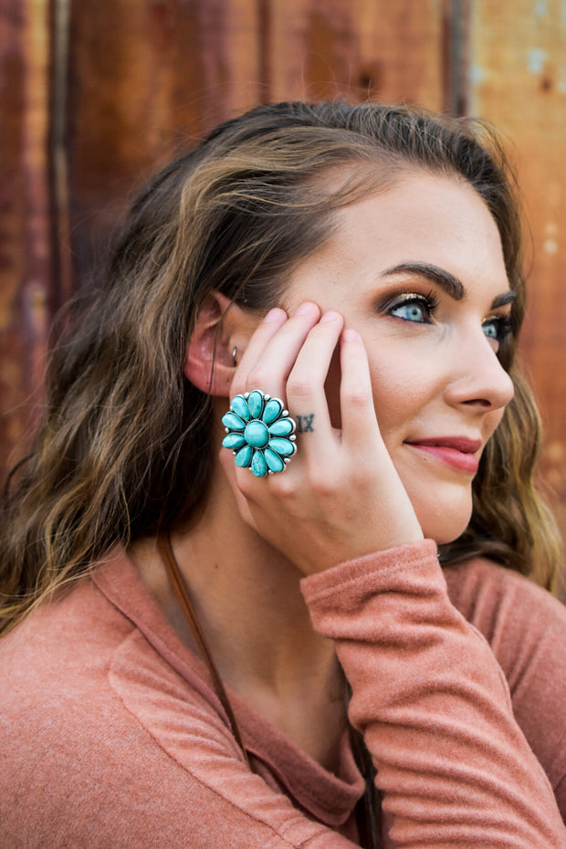 Grace's Turquoise Flower Statement Ring