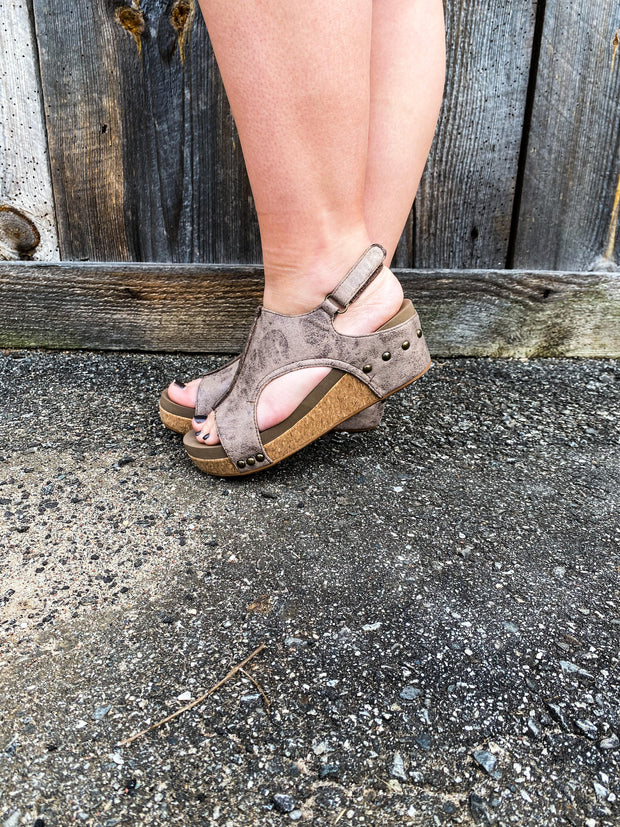 Volta Brown Distressed Corky Wedge