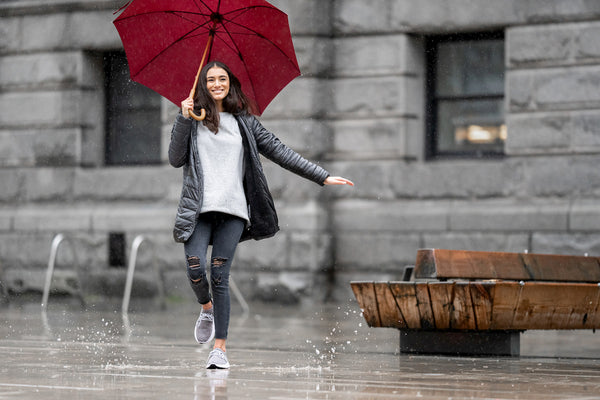 Women wearing Vessi rain shoes