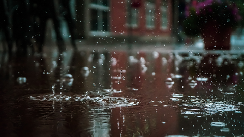 puddles on a rainy day