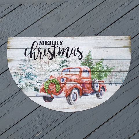 Vintage Red Truck Holiday Front Porch Welcome Mat