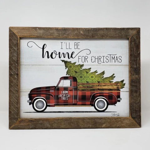 Vintage Truck with Christmas Tree I'll Be Home for Christmas Sign